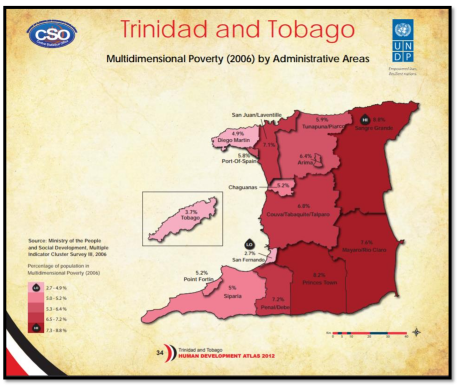 Figure 1: Percentage of population in multidimensional poverty (2006) by Administrative areas, Trinidad and Tobago.